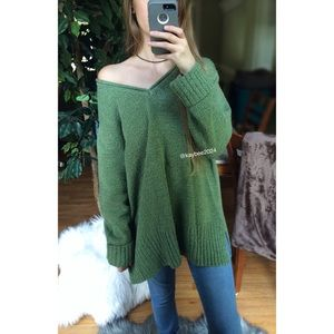🌿 Vintage Cozy Marled Green Knit Sweater 🌿